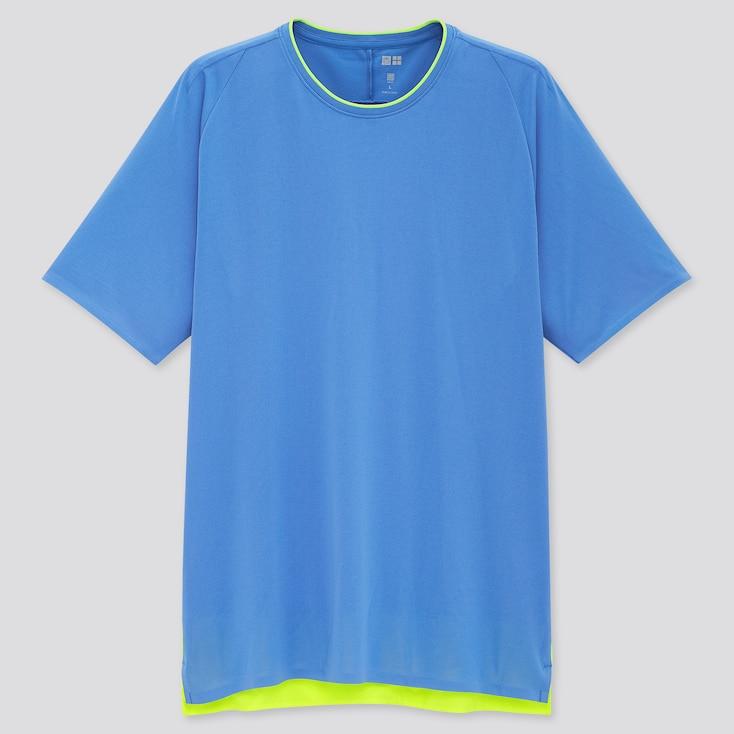 Men Uniqlo+ Dry-Ex Crew Neck Short-Sleeve T-Shirt, Blue, Large