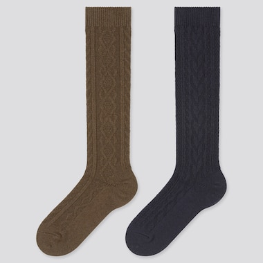 Women Cable Knit Heattech Knee High Socks (2 Pairs), Dark Brown, Medium