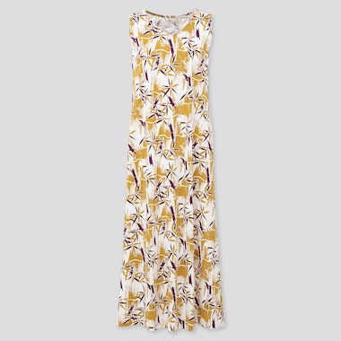 Women Engimono Sleeveless Long Dress, Yellow, Medium