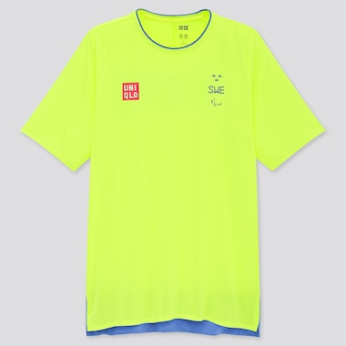 Men UNIQLO+ Swedish Paralympic DRY-EX Crew Neck Short Sleeved T-Shirt