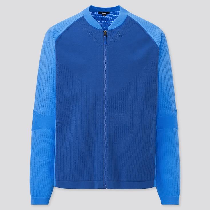 Men Uniqlo+ Knitted Jacket, Blue, Large