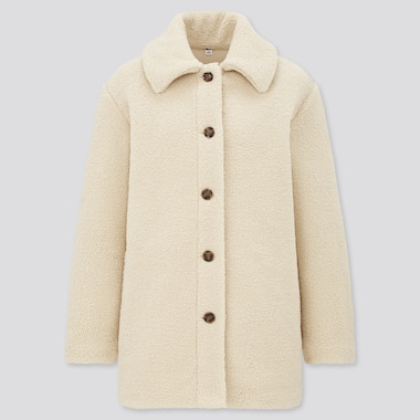 Women Pile Lined Fleece Collar Short Coat