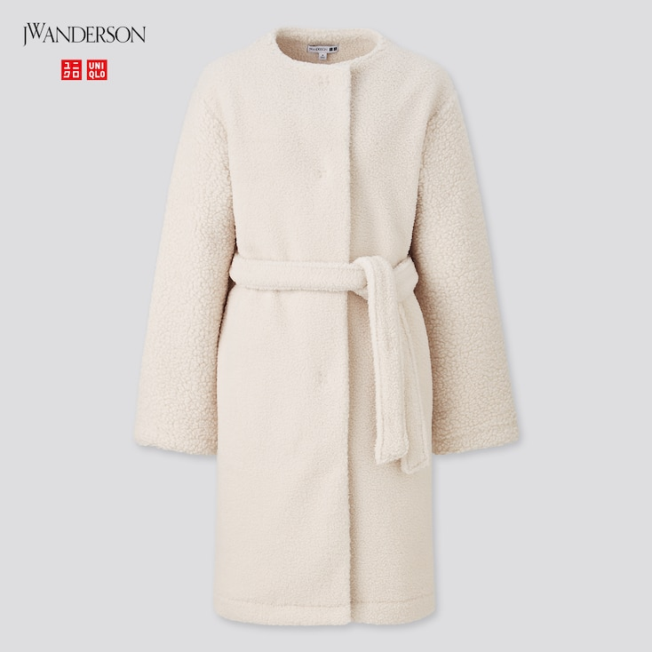 Women Pile-Lined Fleece Collarless Coat (Jw Anderson), Off White, Large