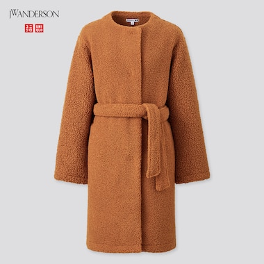 Women Pile-Lined Fleece Collarless Coat (Jw Anderson), Brown, Medium