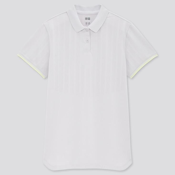 Women Uniqlo+ Dry-Ex Polo Shirt, Light Gray, Large