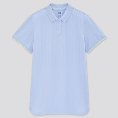 Women Uniqlo+ Dry-Ex Polo Shirt, Blue, Medium