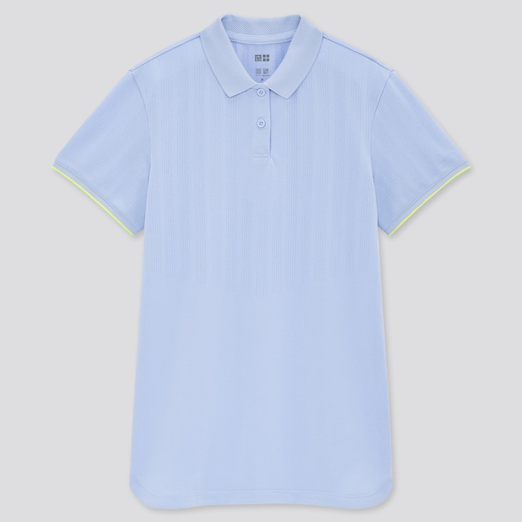 Women Uniqlo+ Dry-Ex Polo Shirt, Blue, Large