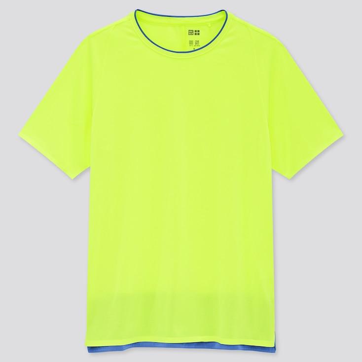 Women Uniqlo+ Dry-Ex Crew Neck Short-Sleeve T-Shirt, Yellow, Large