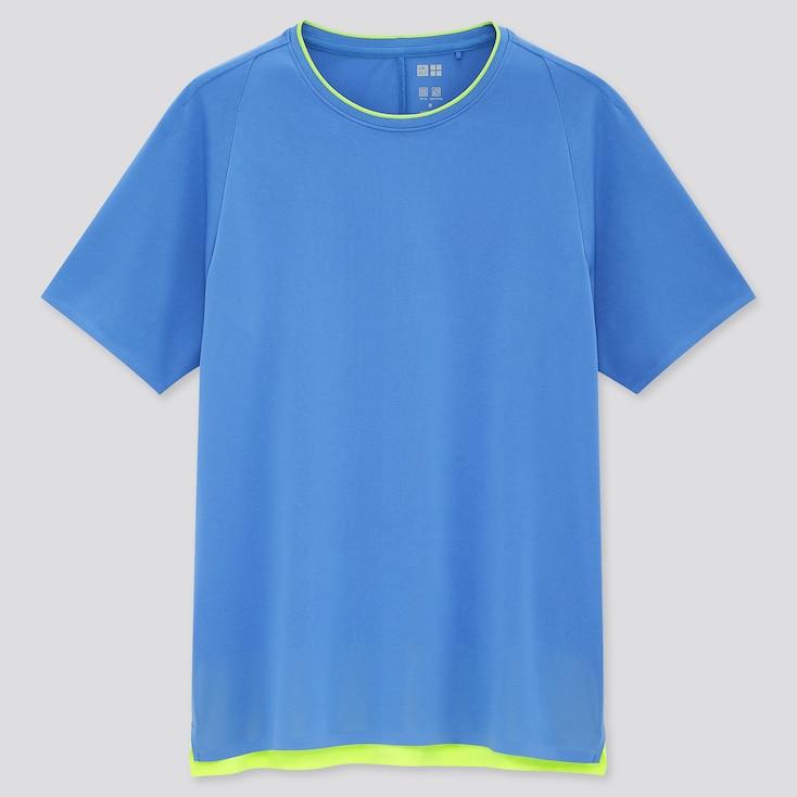 Women Uniqlo+ Dry-Ex Crew Neck Short-Sleeve T-Shirt, Blue, Large