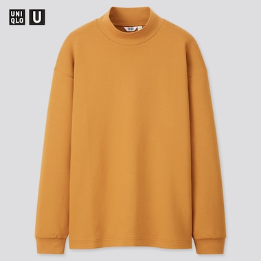 Men U Mock Neck Long-Sleeve Pullover, Mustard, Medium