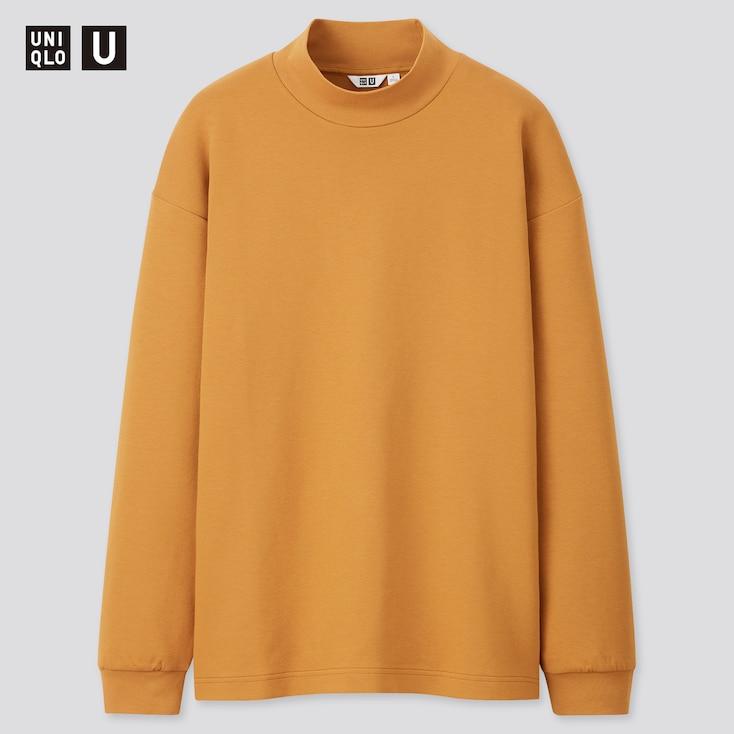 Men U Mock Neck Long-Sleeve Pullover, Mustard, Large