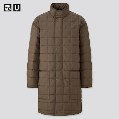 Men U Padded Quilted Coat, Olive, Medium