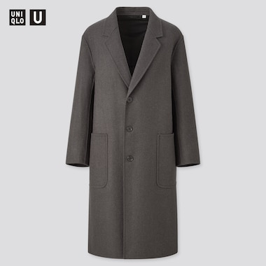 Men U Double Face Over Coat, Dark Gray, Medium