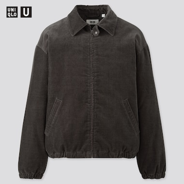 Men U Corduroy Padded Blouson, Dark Gray, Medium