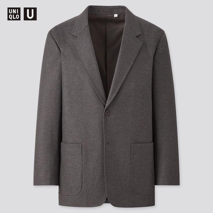 Men U Wool-Jersey Blend Tailored Jacket, Dark Gray, Large