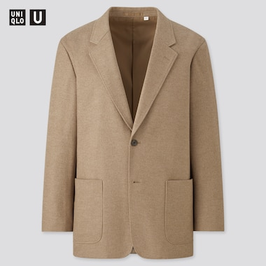 Men Uniqlo U Wool Blend Jersey Tailored Jacket
