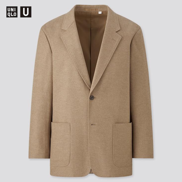 Men U Wool-Jersey Blend Tailored Jacket, Brown, Large