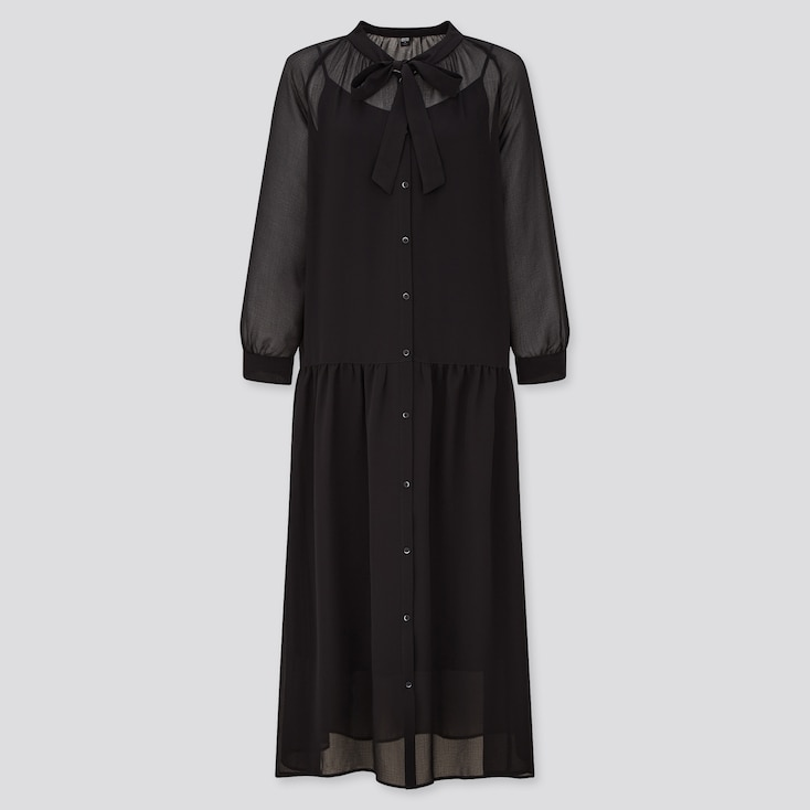 Women Chiffon Bow Tie 3/4 Sleeve Long Dress, Black, Large