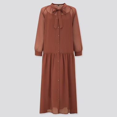 Women Chiffon Bow Tie 3/4 Sleeve Long Dress, Brown, Medium