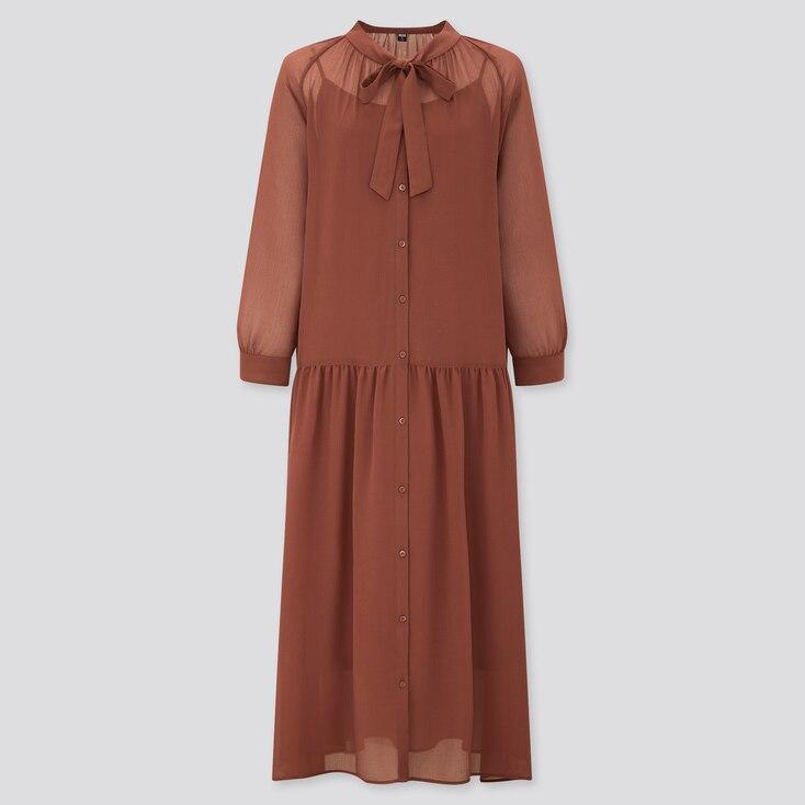 Women Chiffon Bow Tie 3/4 Sleeve Long Dress, Brown, Large