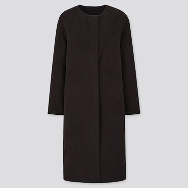 Women Double Face Collarless Coat, Black, Medium