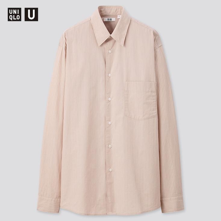 Men U Broadcloth Striped Long-Sleeve Shirt, Pink, Large
