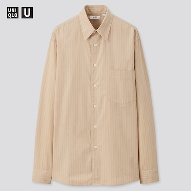 Men U Broadcloth Striped Long-Sleeve Shirt, Beige, Medium