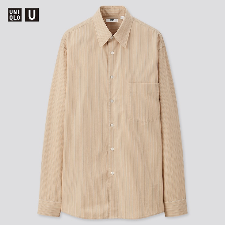 Men U Broadcloth Striped Long-Sleeve Shirt, Beige, Large