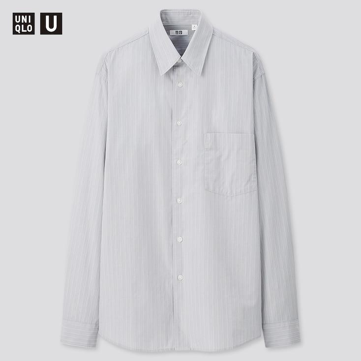Men U Broadcloth Striped Long-Sleeve Shirt, Blue, Large