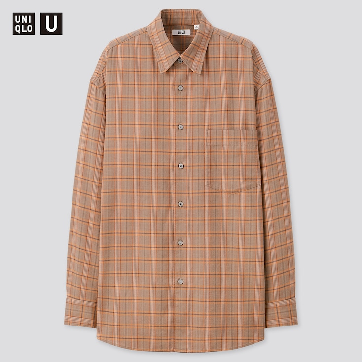 Men U Light Flannel Wide-Fit Checked Long-Sleeve Shirt, Orange, Large