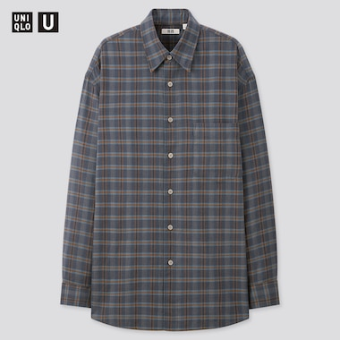 Men Uniqlo U Light Flannel Wide Fit Checked Shirt