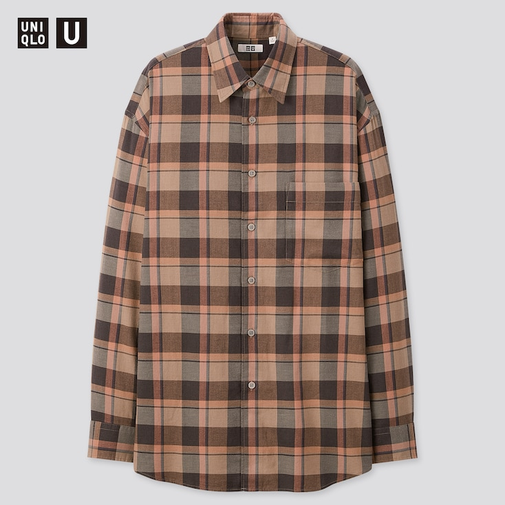Men U Light Flannel Wide-Fit Checked Long-Sleeve Shirt, Gray, Large