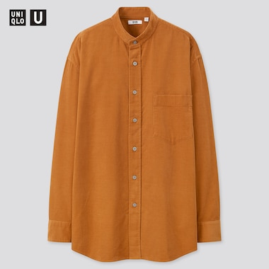 Men U Corduroy Stand Collar Long-Sleeve Shirt, Orange, Medium