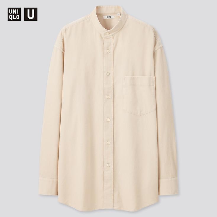 Men U Corduroy Stand Collar Long-Sleeve Shirt, Natural, Large