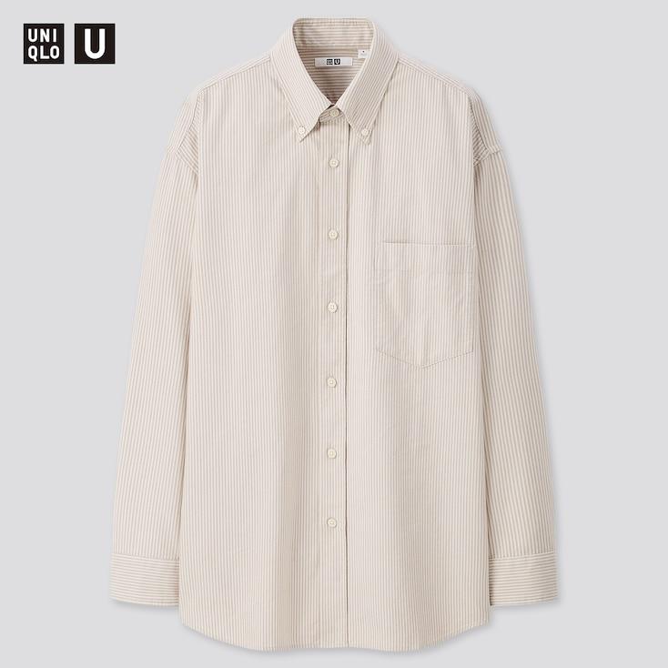 Men U Oxford Striped Long-Sleeve Shirt, Off White, Large