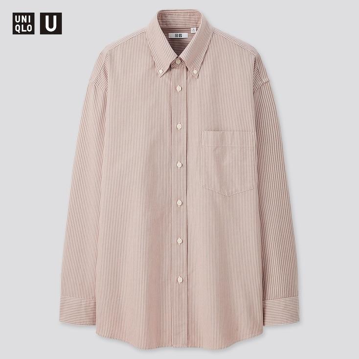 Men U Oxford Striped Long-Sleeve Shirt, Pink, Large