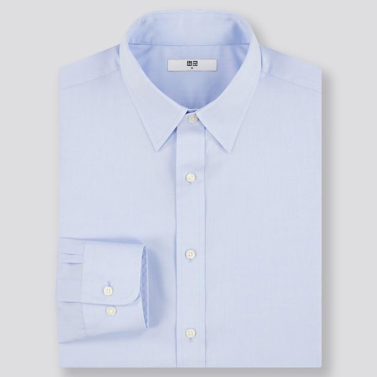 Men Easy Care Regular-Fit Long-Sleeve Shirt, Blue, Large