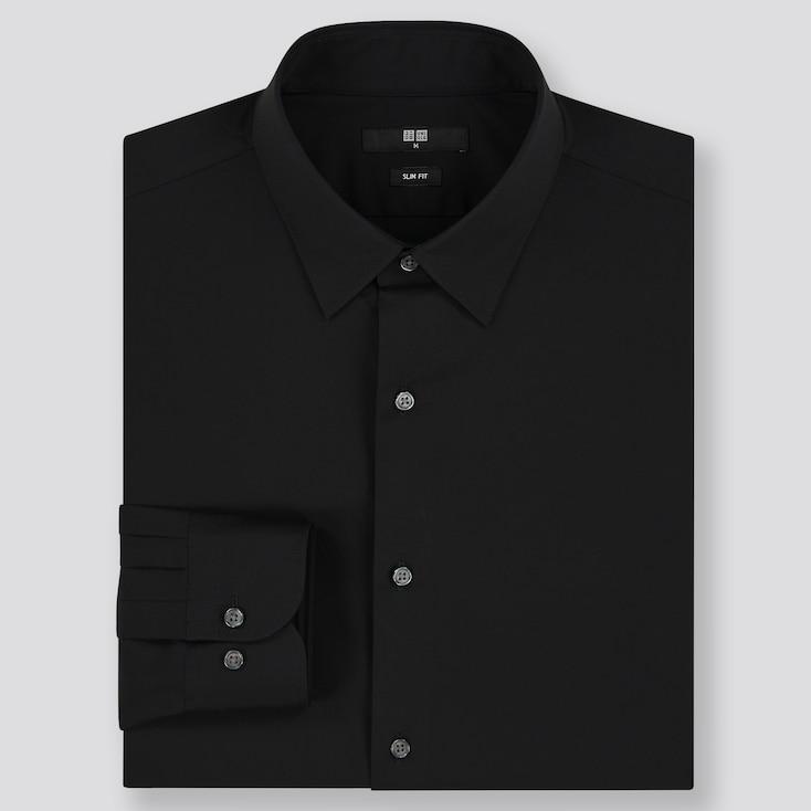 Men Easy Care Stretch Slim-Fit Long-Sleeve Shirt, Black, Large