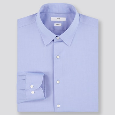 Men Easy Care Stretch Slim-Fit Long-Sleeve Shirt (Online Exclusive), Blue, Medium