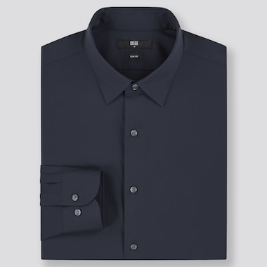 Men Easy Care Stretch Slim-Fit Long-Sleeve Shirt, Navy, Medium