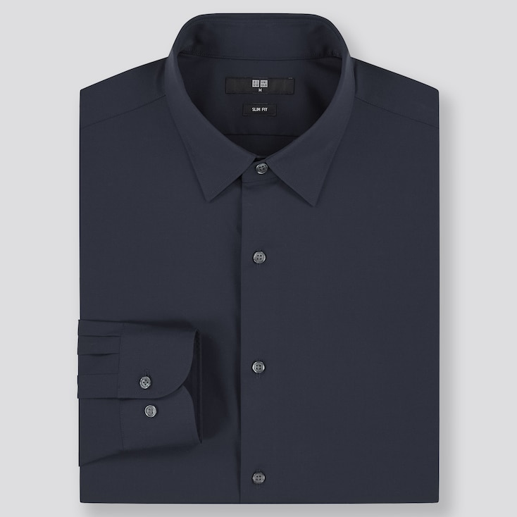Men Easy Care Stretch Slim-Fit Long-Sleeve Shirt, Navy, Large