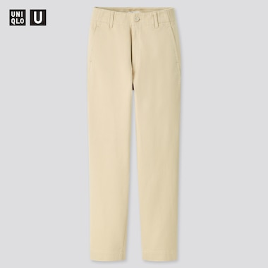 Women Uniqlo U Cotton Satin Wide Leg Tapered Fit Trousers