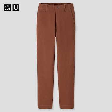 Women U Cotton Satin Wide Tapered Pants, Brown, Medium