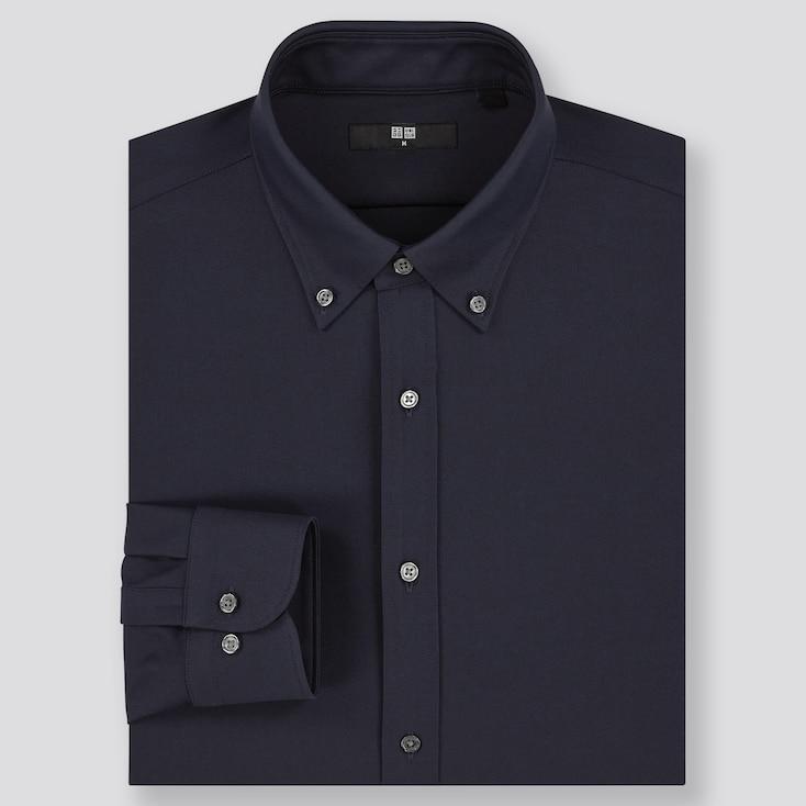 Men Easy Care Comfort Long-Sleeve Shirt, Navy, Large