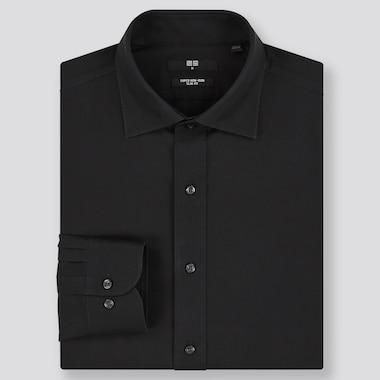 Men Super Non-Iron Slim-Fit Long-Sleeve Shirt, Black, Medium