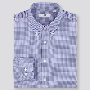 Men Easy Care Checked Regular-Fit Long-Sleeve Shirt, Blue, Medium