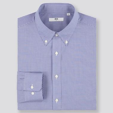 Men Easy Care Checked Regular-Fit Long-Sleeve Shirt, Blue, Medium