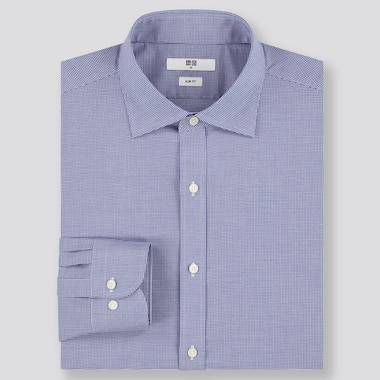 Men Easy Care Checked Stretch Slim Fit Shirt (Semi-Cutaway Collar)