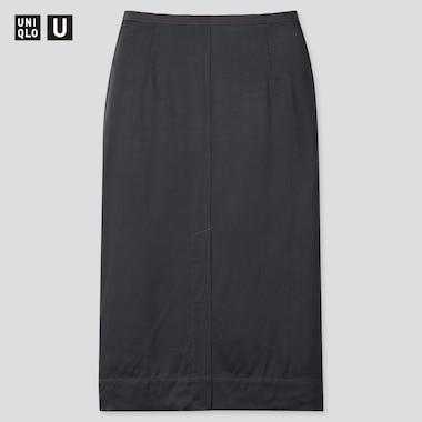 Women Uniqlo U Satin Midi Skirt