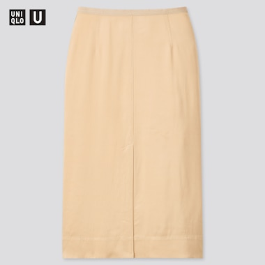 Women Uniqlo U Satin Midi Skirt